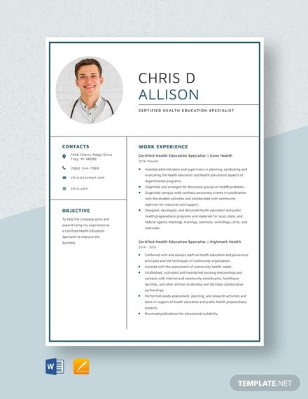 certified health education specialist resume  health