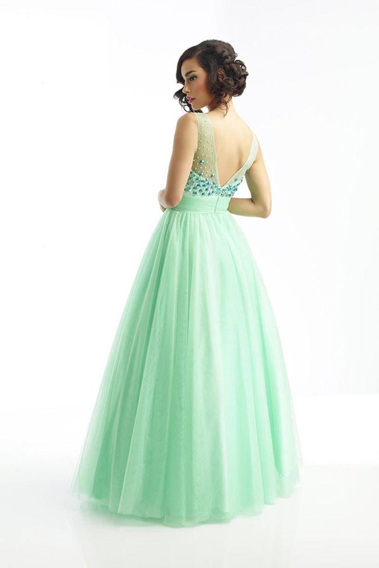 Green backless prom dress  Nice Prom Dresses Magnificent Scoop V Back Tulle Prom Dress Floor