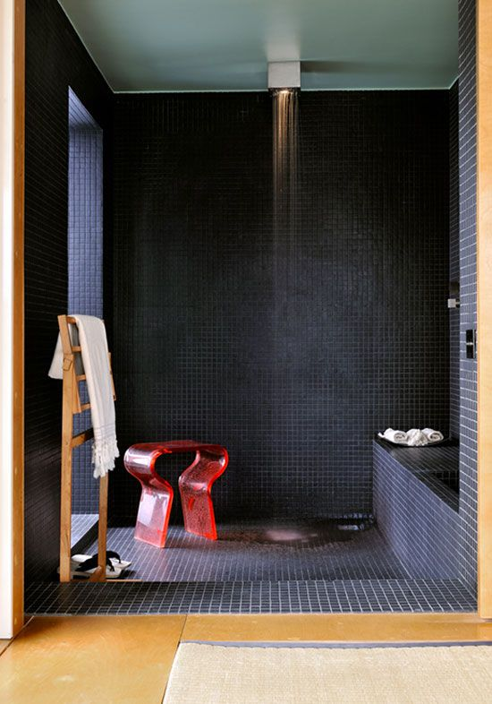 black shower tiles | desiretoinspire