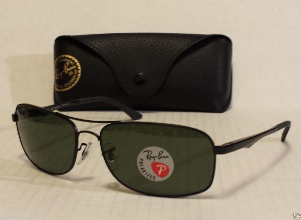 89fa23fe95 Ray-Ban POLARIZED men sunglasses RB 3484 metal frame black color rectangular