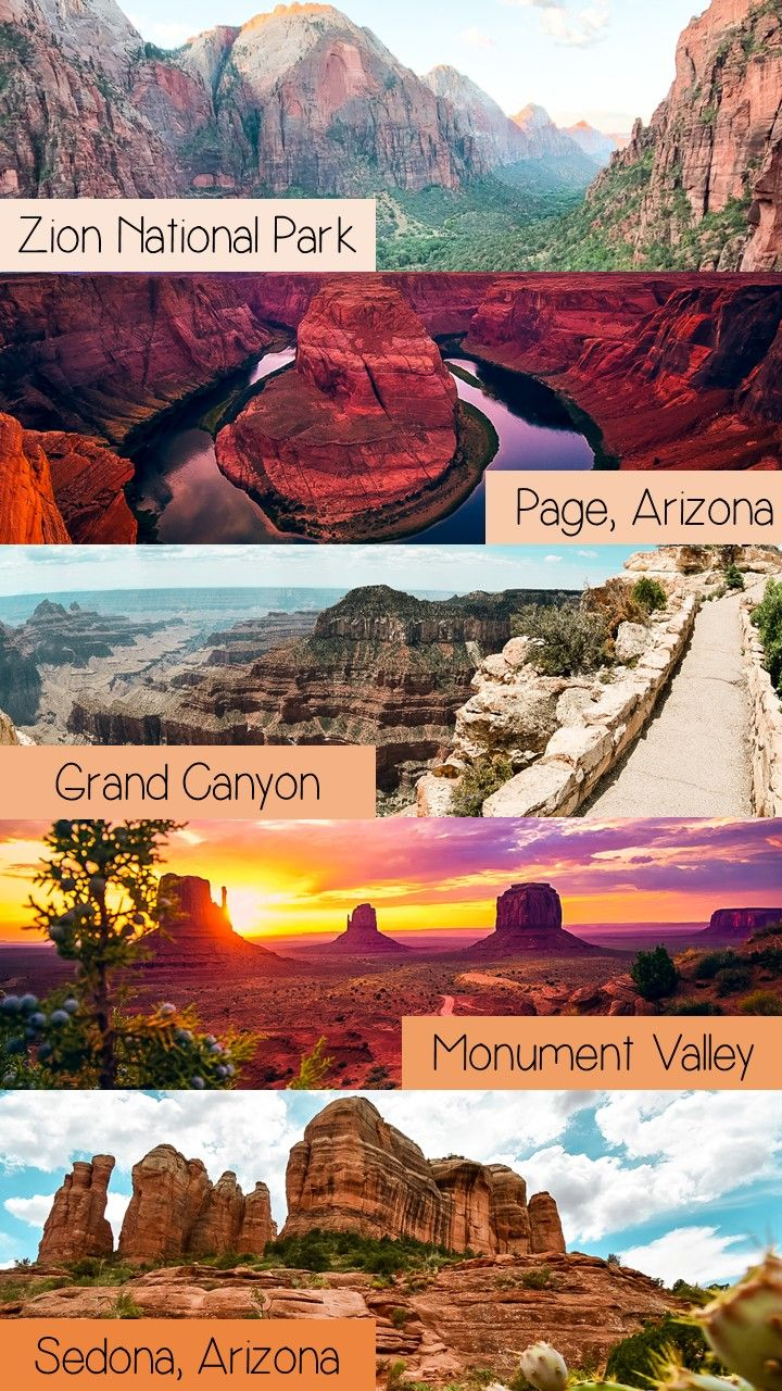 A Southwest Road trip allows travelers to see numerous US National Park and State Parks with the minimal drive time between each destination. Learn more about exploring the Southwest parks and see the red and orange natural beauty! This trip includes Bryce Canyon, Zion National Park, Page Arizona's famous Antelope Canyon and Horseshoe Bend, Monument Valley and Sedona Arizona's Slide Rock and Cathedral Rock. #southwest #roadtrip #US
