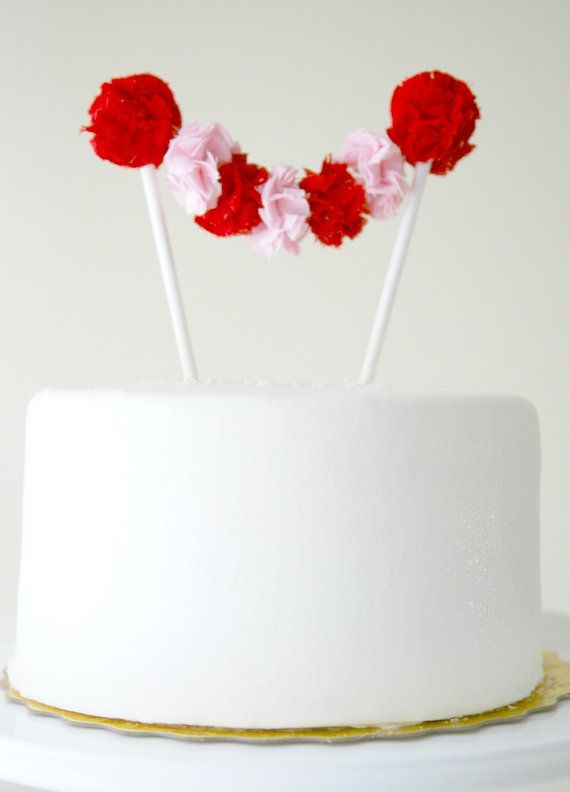 Valentine's Day Cake Topper Garland in Red and by PotterandButler, $32.00