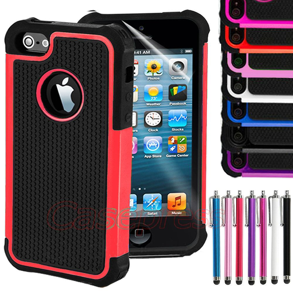 Combo Rugged Rubber Matte Hard Case Cover For iPhone 5 5G 6th Stylus Screen Film