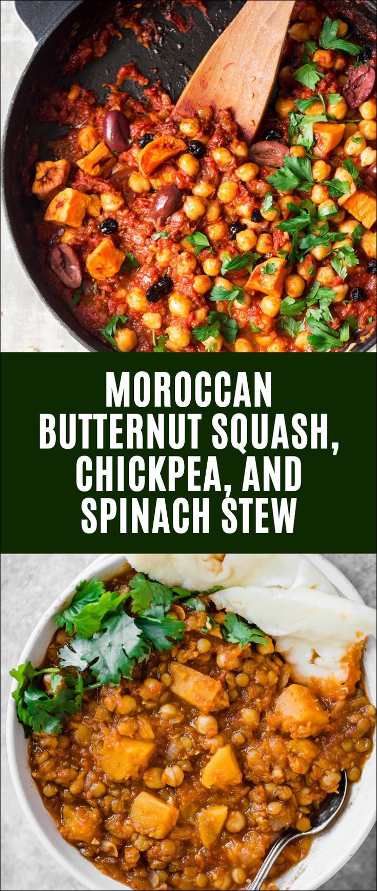 Moroccan Butternut Squash, Chickpea, and Spinach Stew #butternutsquashsoup