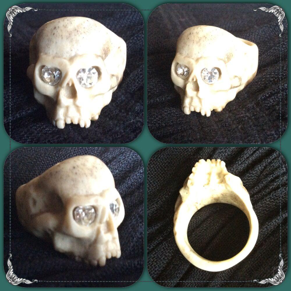 Skull ring I made from antler !