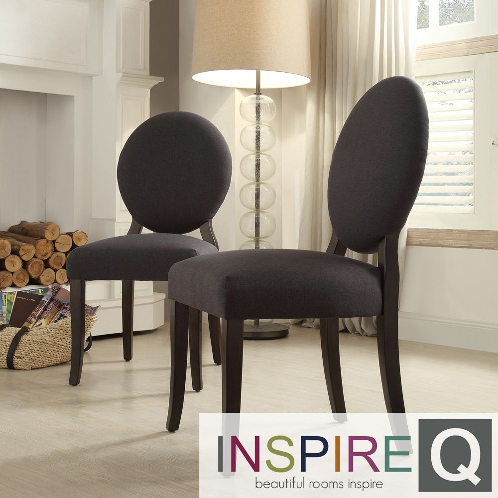 End chairs at the dining table? > Inspire Q Zoey Dark Grey Round Back Side