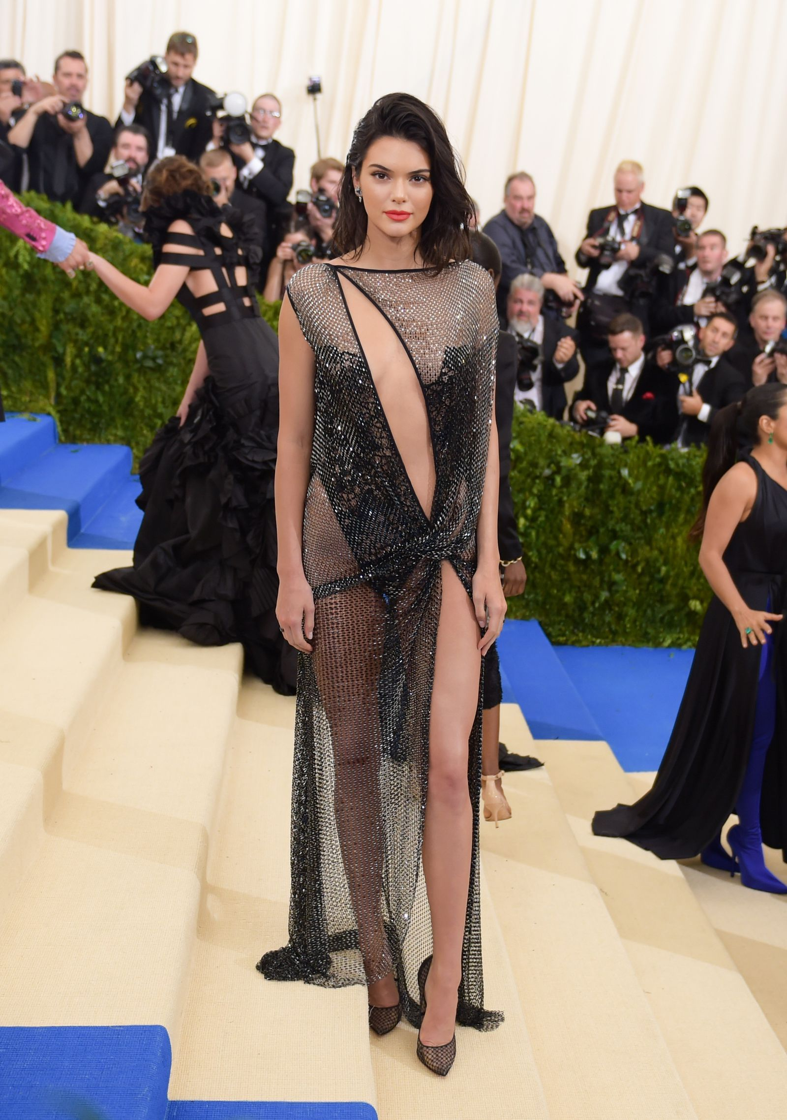 718cc4585a8c Kendall Just One-Upped Her Most Naked Look Ever in This Completely Sheer  Gold Dress- Cosmopolitan.com