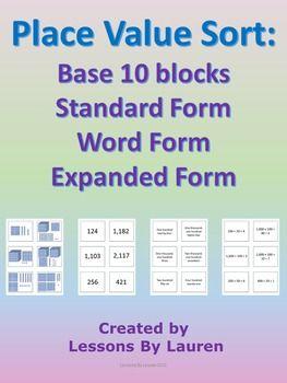 standard form 10  Place Value Sort - Base 5, Standard Form, Word Form ...