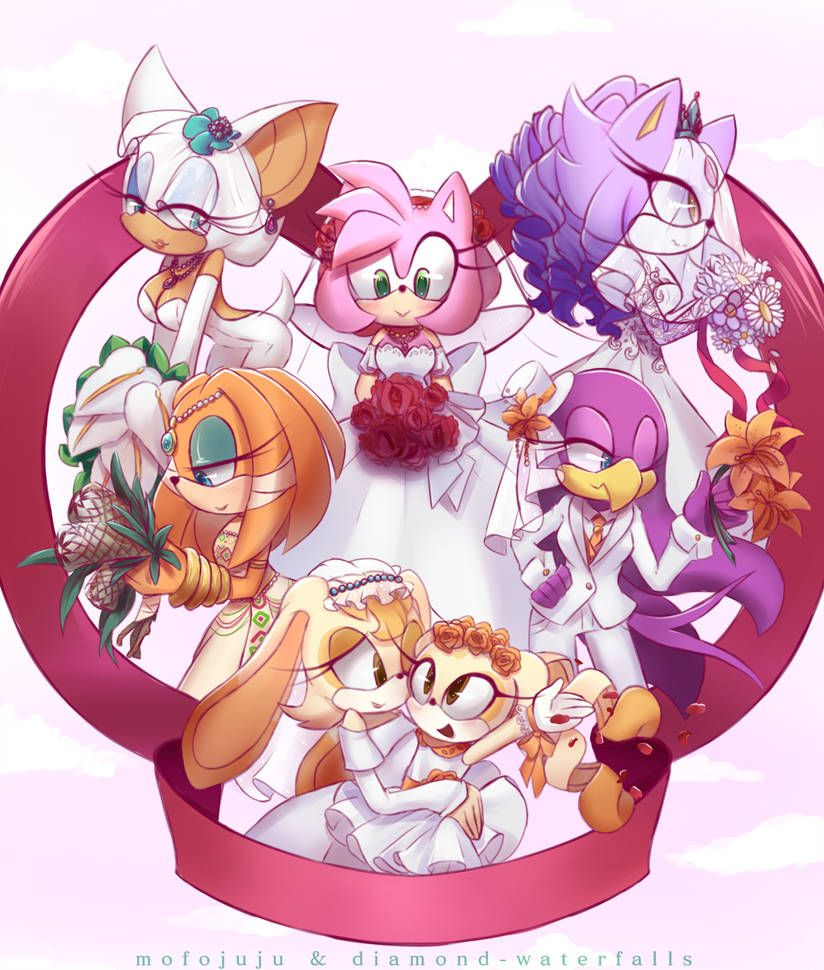 Wedding Girls by Diamond-waterfalls   Sonic fan characters