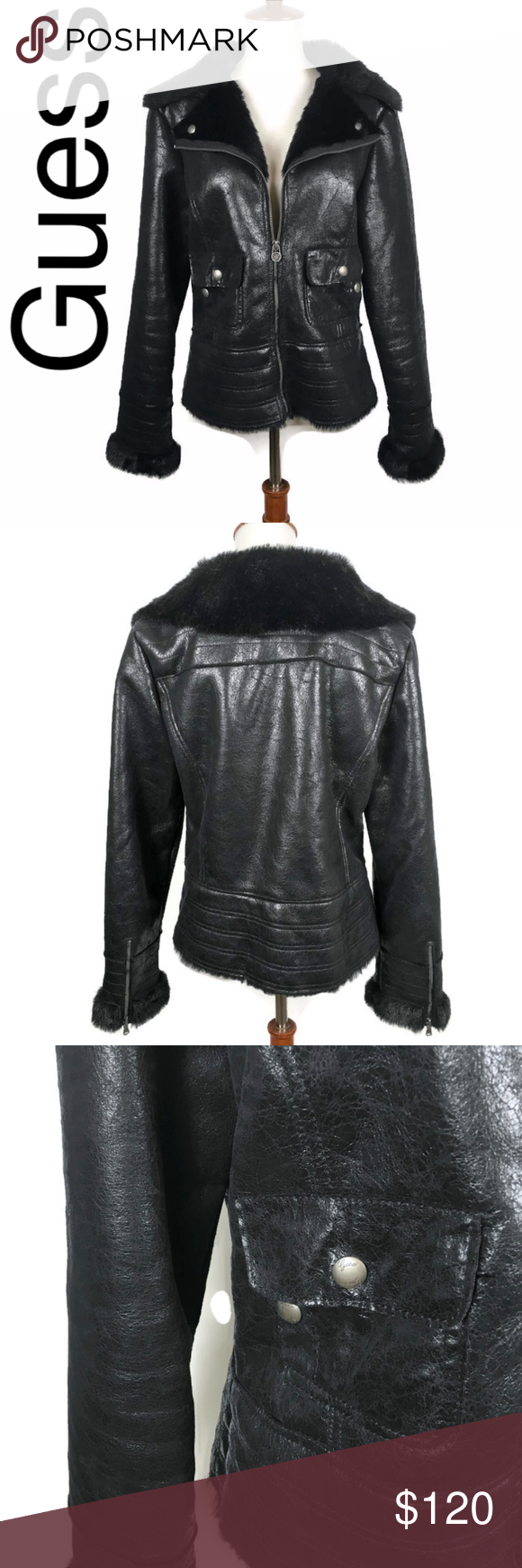 Guess faux fur lined moto jacket in black Moto jacket