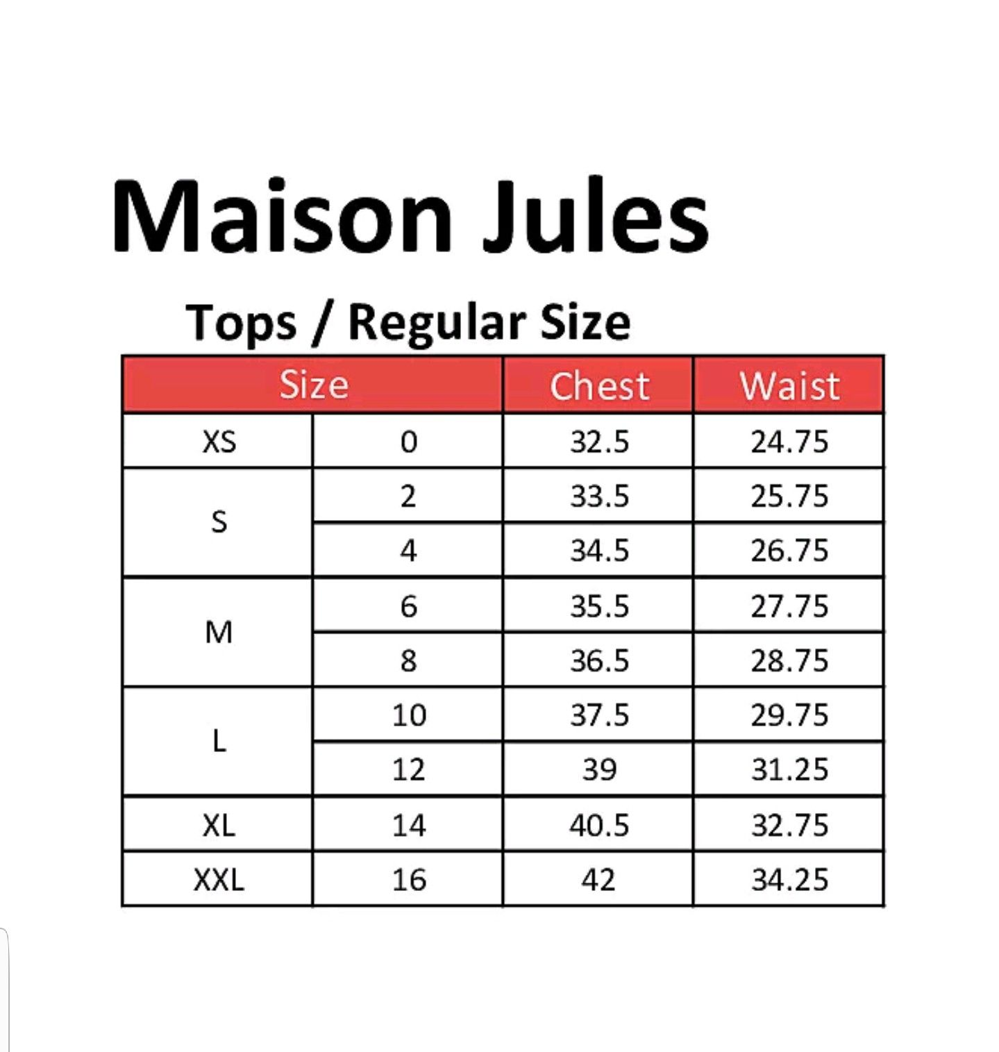 Maison Jules Clothing Size Chart Long Sleeve Layer T Shirt Top Clothing Size Chart