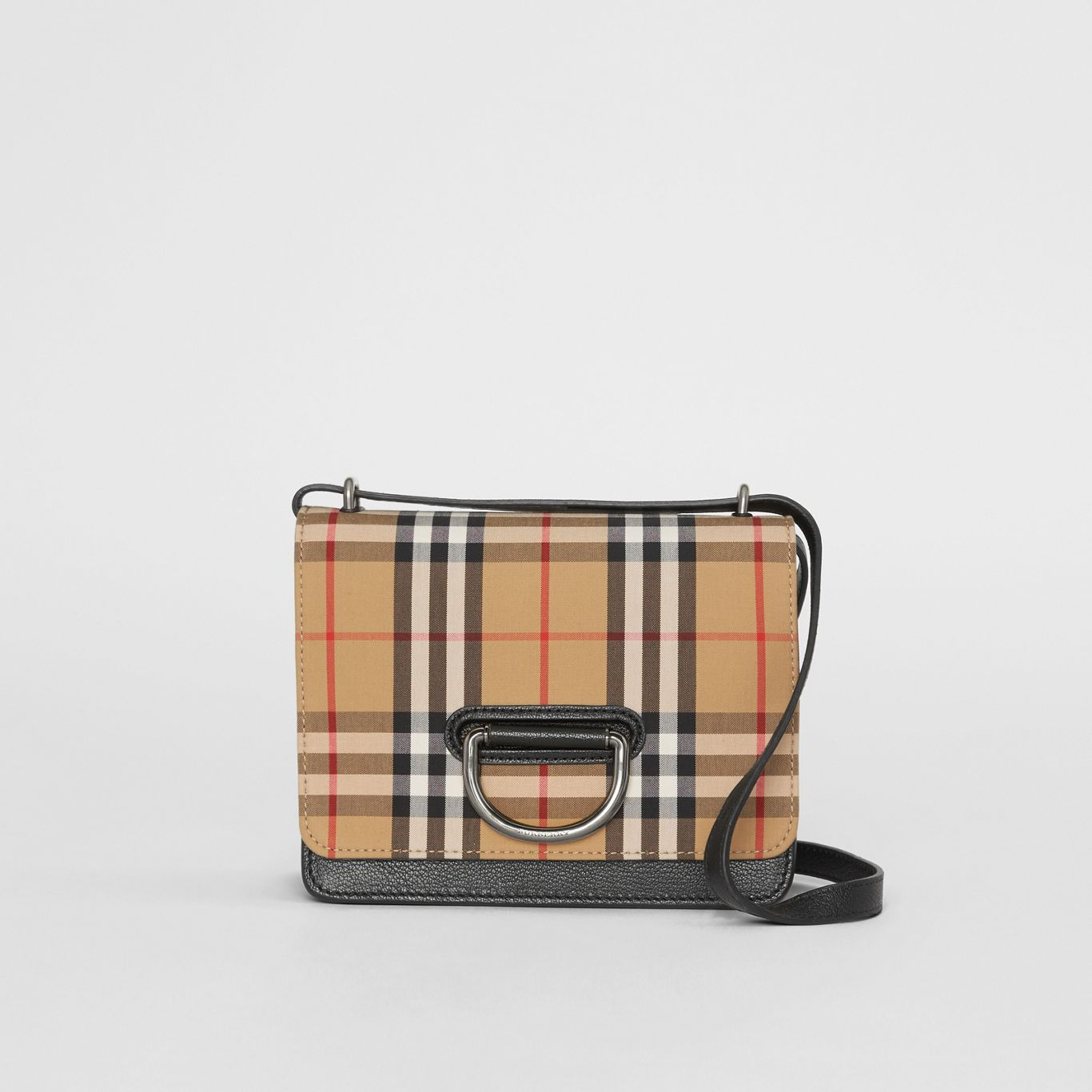27636fdc5fa8 The Small Vintage Check and Leather D-ring Bag in Black/antique ...