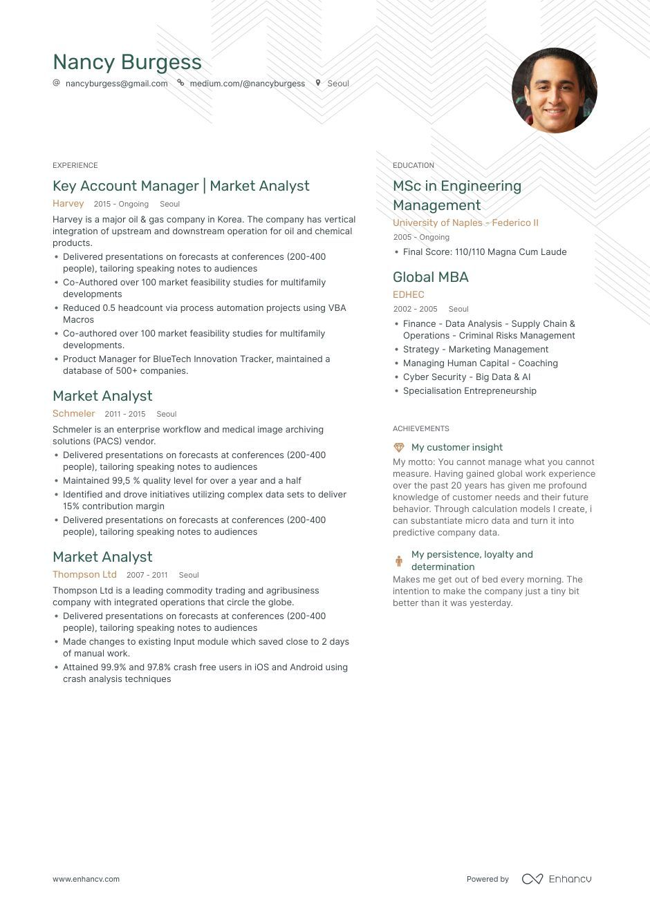Market Analyst Resume Example and guide for 2019 Data