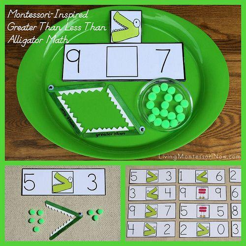 Montessori-Inspired Greater Than Less Than Alligator Math at PreK + K Sharing