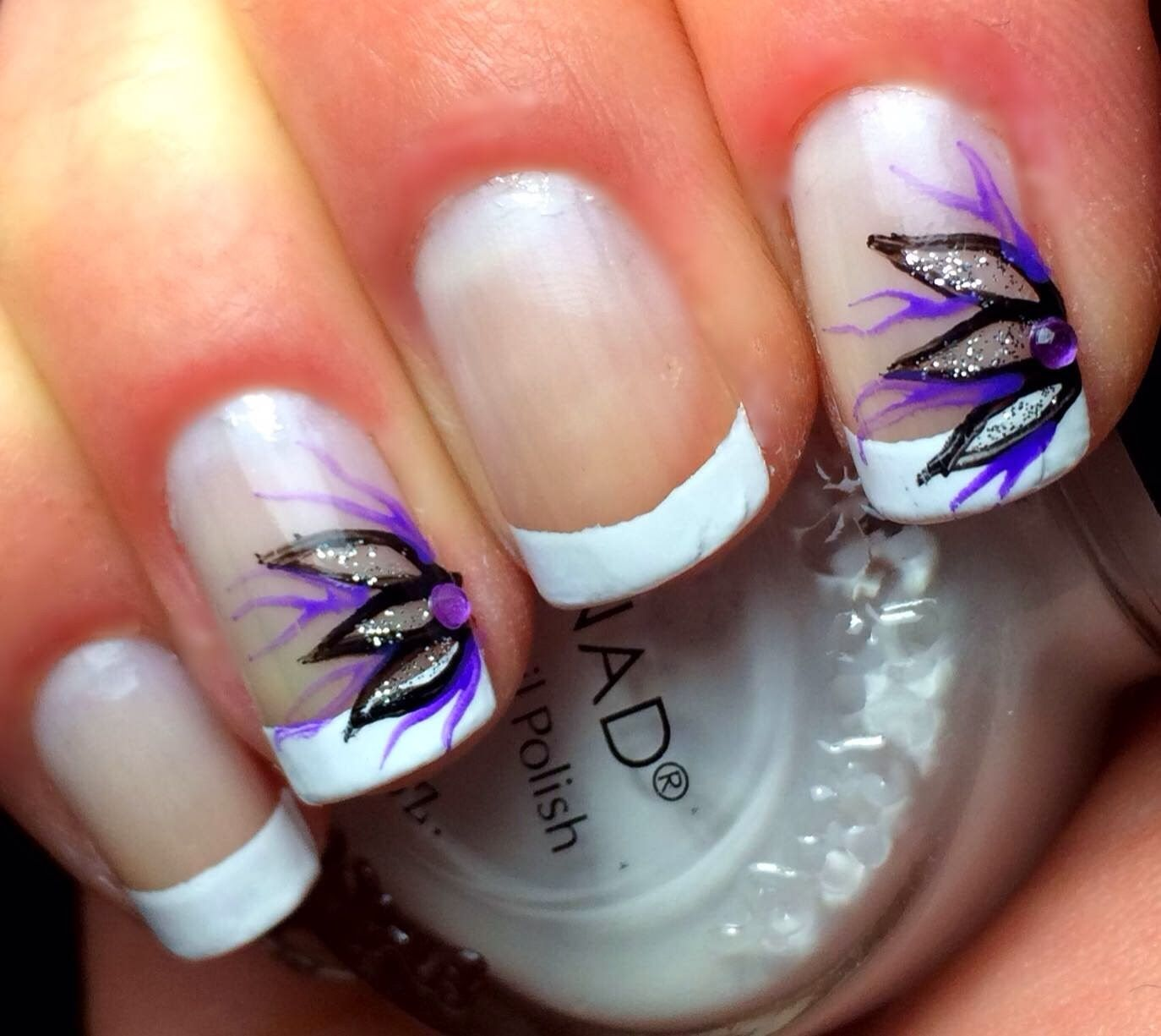 Frenchtip with purple/silver sparkley flower | French tip ...