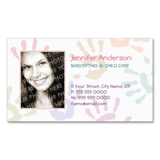 Babysitter Nanny Photo Personalized Teacher Business Card Zazzle Com Personal Business Cards Childcare Business Cards Teacher Business Cards