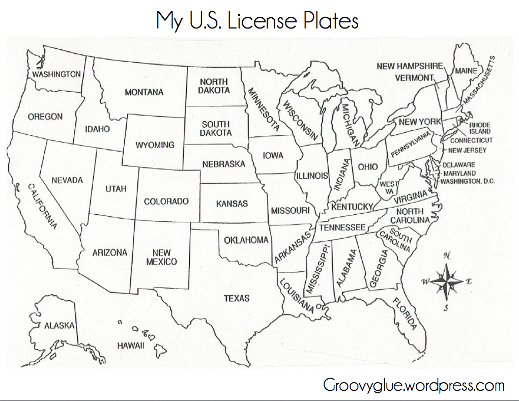 License Plate Game United States Map America Map Map