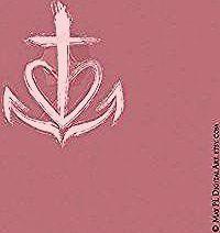 Photo of FAITH HOPE LOVE statt des Kreuzes ein O und ein L (?) rechts und links der Streb…