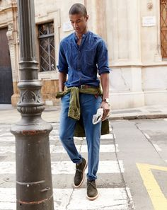 J.Crew men's cotton-linen band collar shirt, textured cotton chino pant in urban slim fit, ribbed cotton belt, Mougin & Piquard Chronovintage watch, and Alden for J.Crew suede chukka boots. To preorder call 800 261 7422 or email verypersonalstylist@jcrew.com.