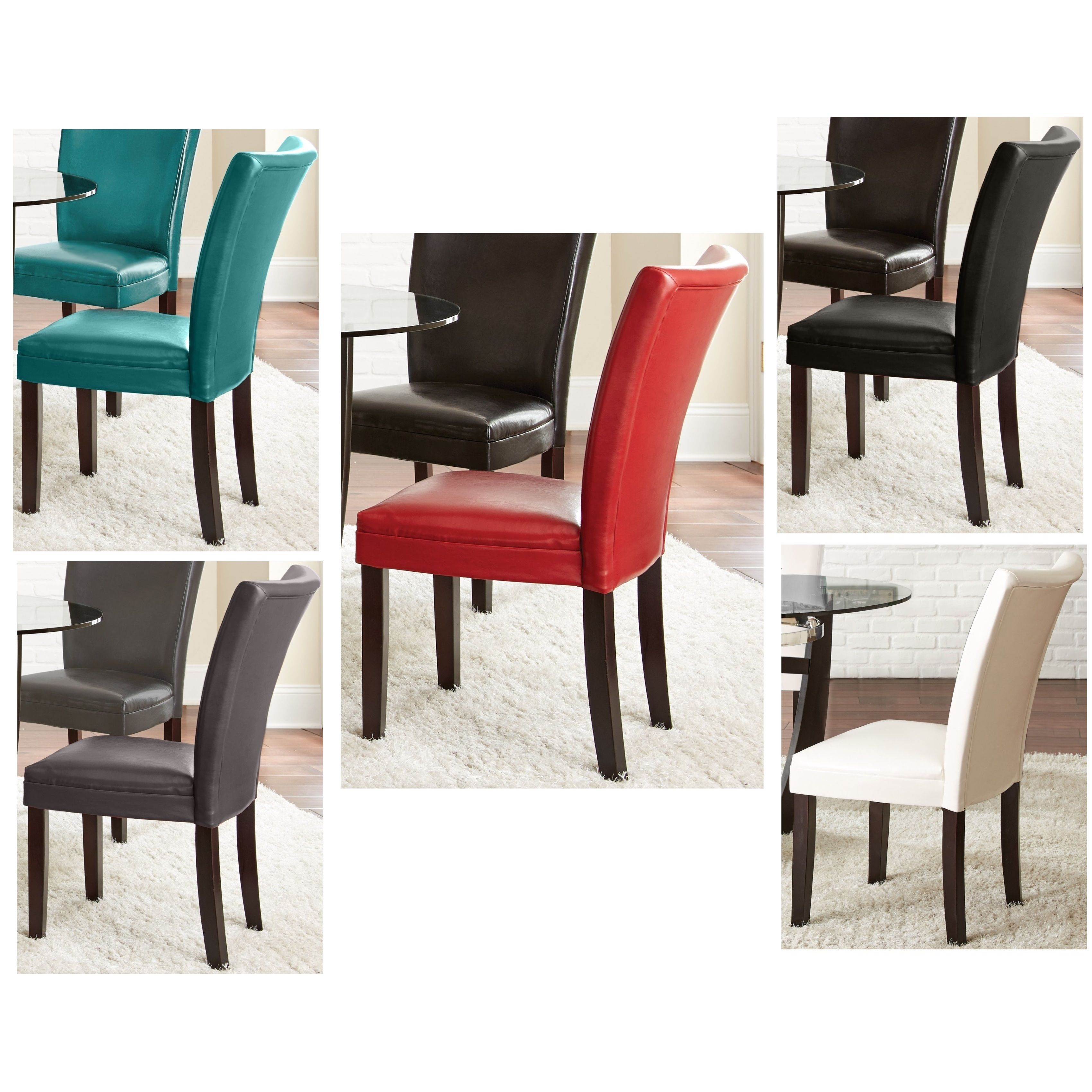The Monoco leather dining chairs are upholstered in sleek ...