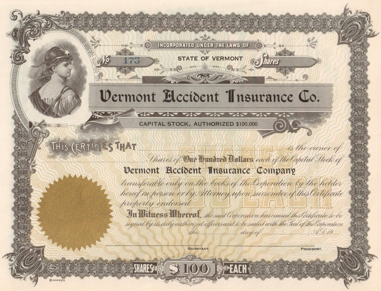 Vermont Accident Insurance Company Circa 1961 Accident Insurance
