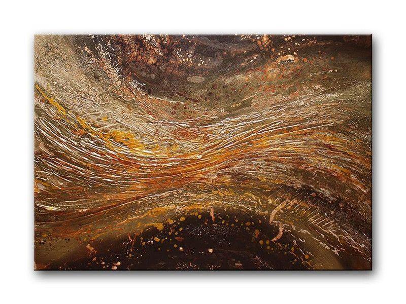 Acrylmalerei - GOLDEN RIVER Gemälde Bild Struktur Gold Leinwand - ein Designerstück von acryliks bei DaWanda