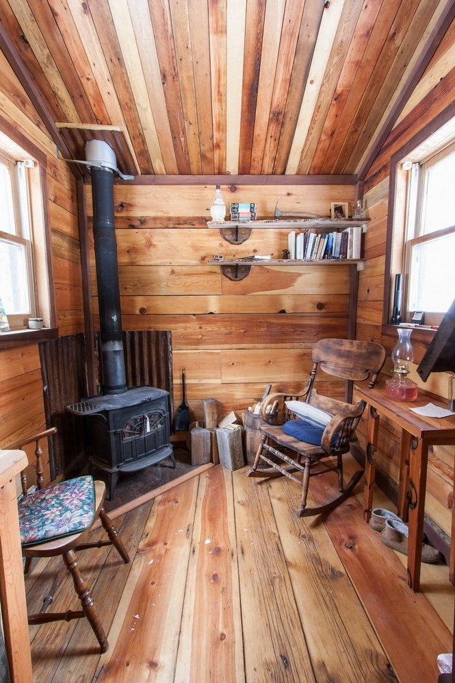 Looks Cozy Would Add Some Floor Cushions And A Blanket To Cuddle Up And Nap By The Wood Stove Cabin Interior Design Log Cabin Interior Small Cabin