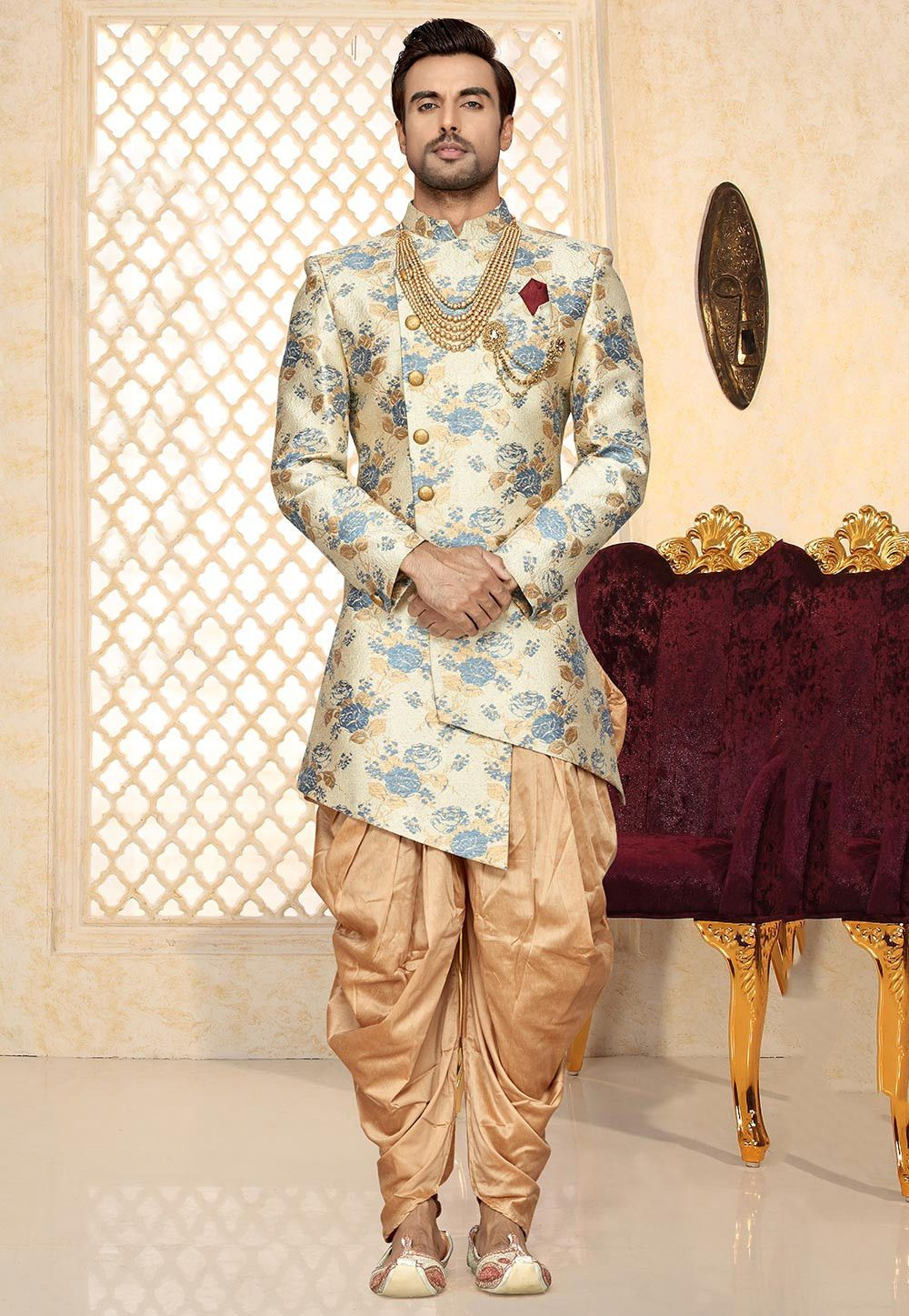 a9561a812 Art Silk Jacquard Asymmetric Sherwani in Off White This Readymade attire is  Enhanced with Buttons and