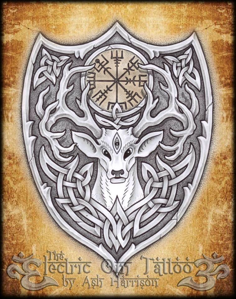 tattoos celtic norse knotwork stag spirit n vegvisir by ash harrison tattoos celtic norse. Black Bedroom Furniture Sets. Home Design Ideas