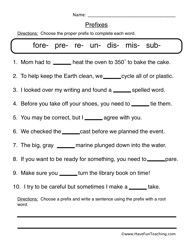 4 Prefixes Worksheets (un, re, dis) by Kelly Connors | TpT