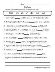 prefix worksheet 1 prefixes prefixes worksheets and vocabulary games. Black Bedroom Furniture Sets. Home Design Ideas