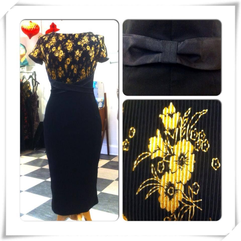Splendor is a great vintage style cocktail dress in black with gold details from Bettie Page Clothing <3 Mondo Kaos