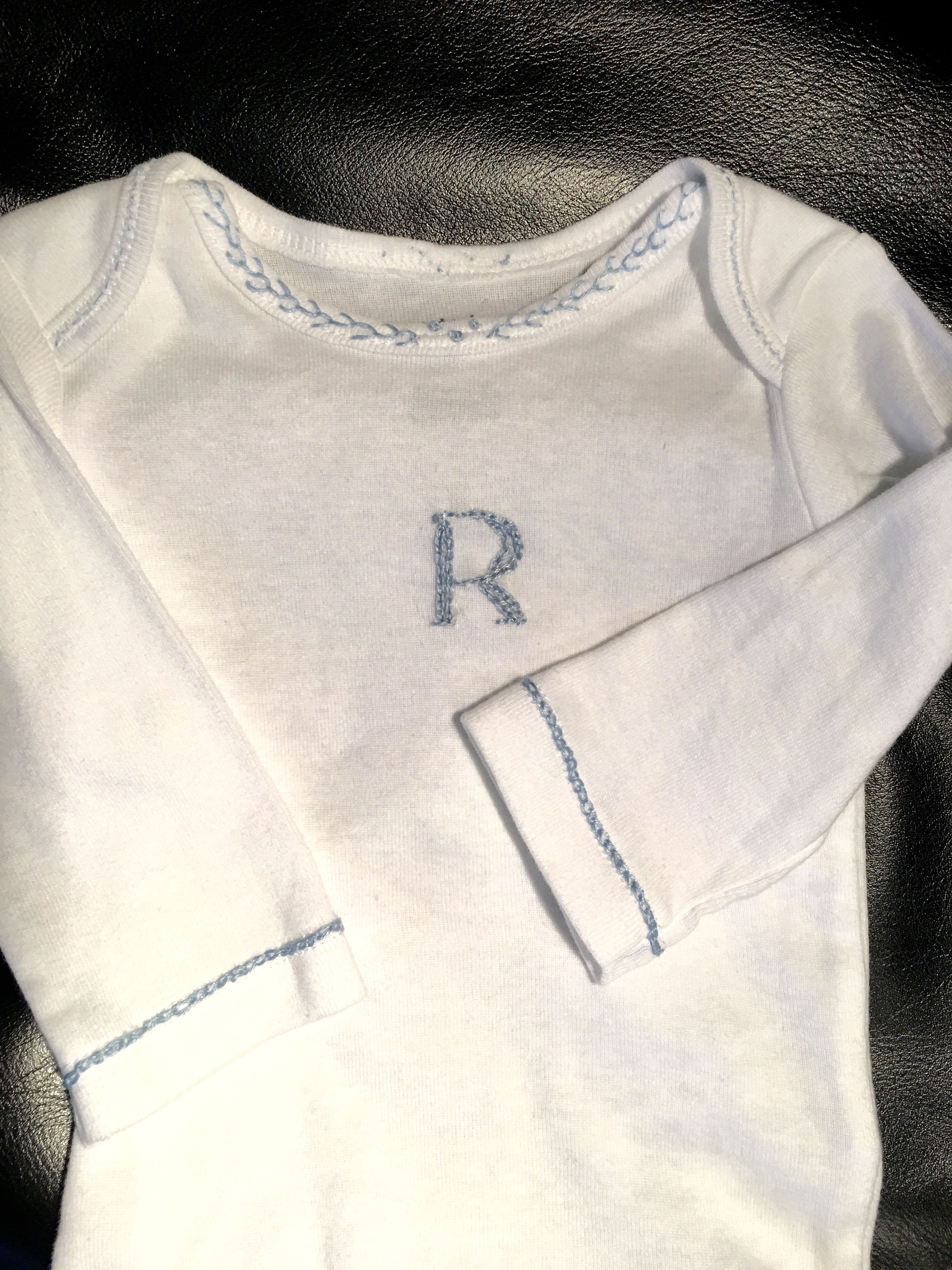 Little carterus onesie that i handembroidered for nephew coming
