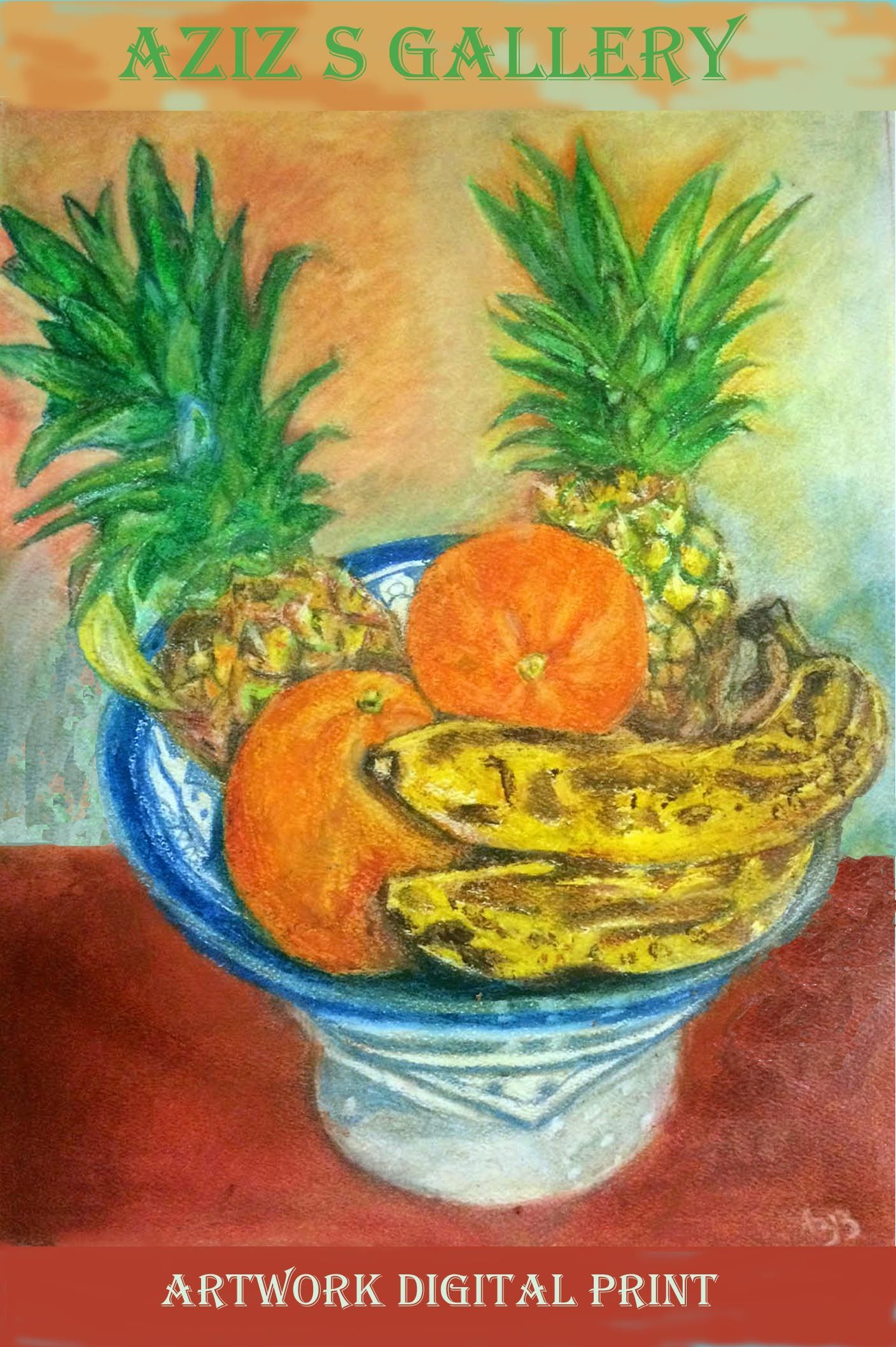 Bowl Of Fresh Fruits Digital Print Of An Oil Pastel