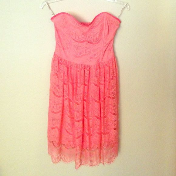 Salmon lace dress Salmon colored - lace - strapless dress. Worn once. Forever 21 Dresses Strapless