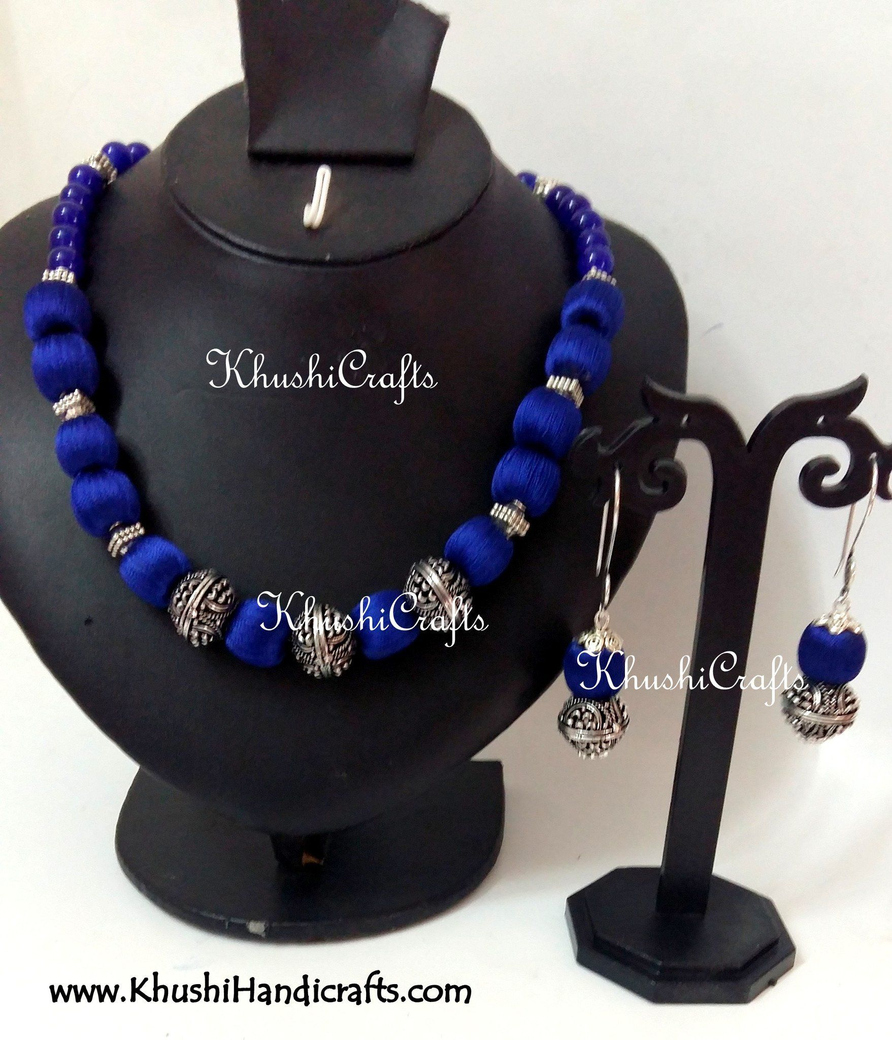 5501765ad Blue Silk and German silver Beads Amalgamated Necklace   thread work ...