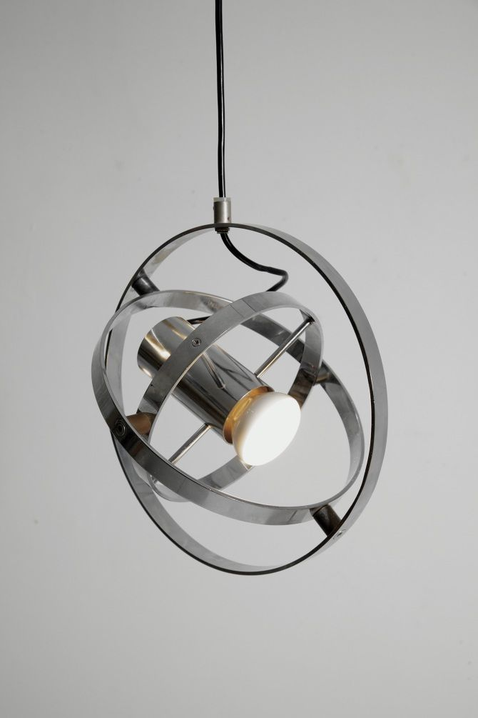 Anonymous chromed metal ceiling light by prime mover 1950s