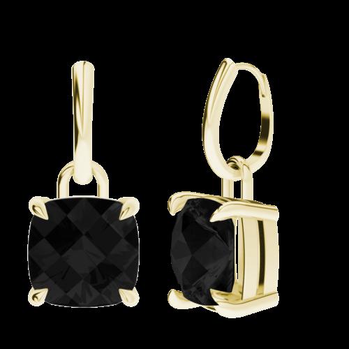 StyleRocks Rose Quartz 9kt Yellow Gold Checkerboard Drop Earrings o1mzTu3r3L