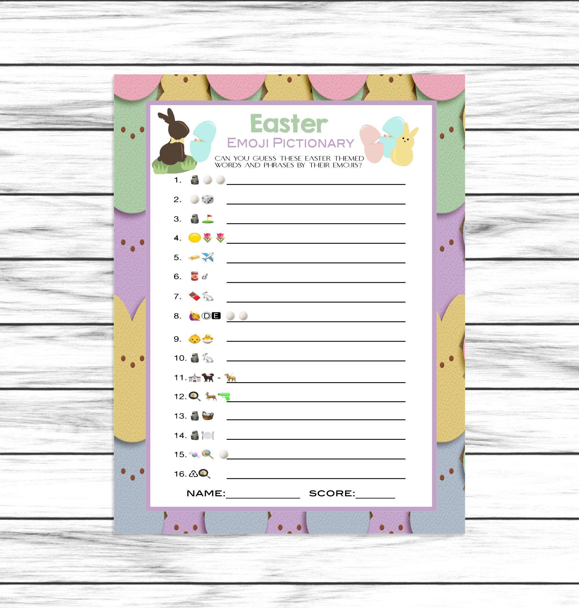 Easter Game Emoji Pictionary Easter Party Game Emoji Game Etsy In 2020 Easter Party Games Easter Games Easter Emoji