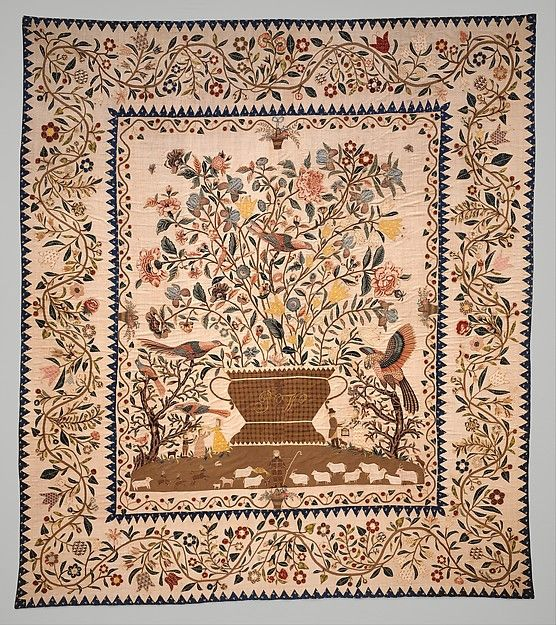 Phebe Warner Coverlet Probably Sarah Furman Warner Williams (born 1764) Date: ca. 1803 Geography: Mid-Atlantic, New York, New York, United States Culture: American Medium: Linen and cotton Dimensions: 103 1/4 x 90 1/2 in. (262.3 x 229.9 cm) Classification: Textiles