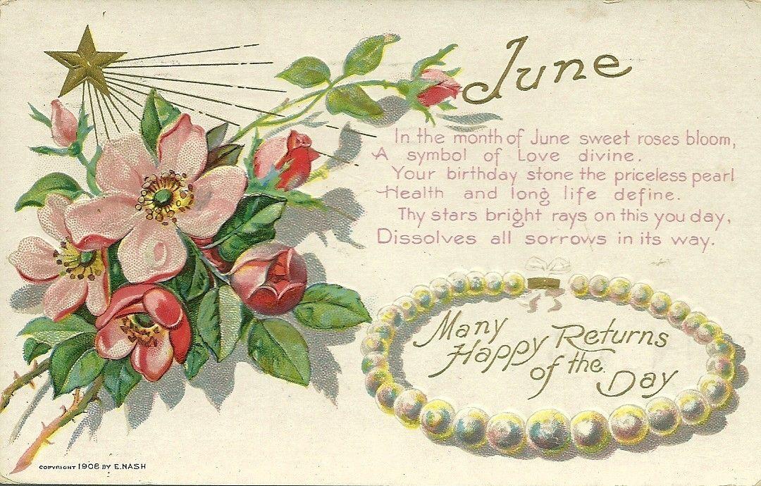 1908 Nash Birthday Month Of JUNE Vintage Greeting Postcard