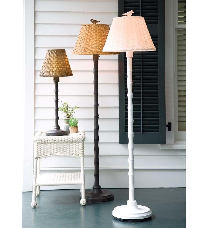 waterproof outdoor wicker floor lamp 16 w x 61 h floor lamp deck