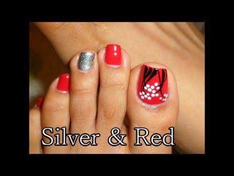Decoraci n facil rojo y plata para las u as de los pies easy toe nail perfection - Decoracion facil de unas ...