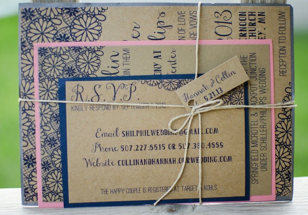 Rustic Lace Wedding Invitation Mad Photo Design Le Mars IA