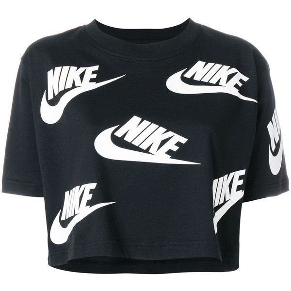 Nike logo print cropped T-shirt ($33) ❤ liked on Polyvore featuring tops, t-shirts, black, short sleeve crop top, logo design t shirts, crop tops, short sleeve tee and loose t shirt
