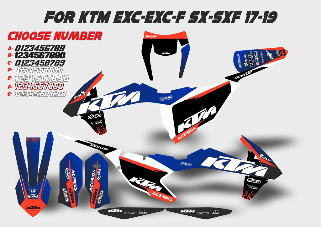 Ktm Exc Blue Graphic Kit Ktm Exc Ktm Graphic Kit