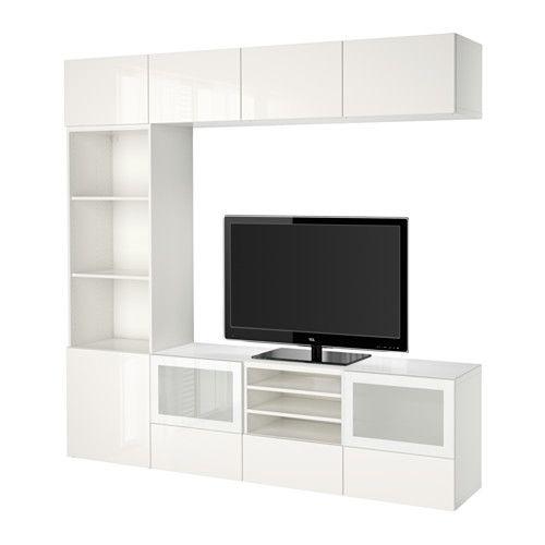 BESTÅ Combinaison rangt TV/vitrines - blanc/Selsviken brillant/blanc