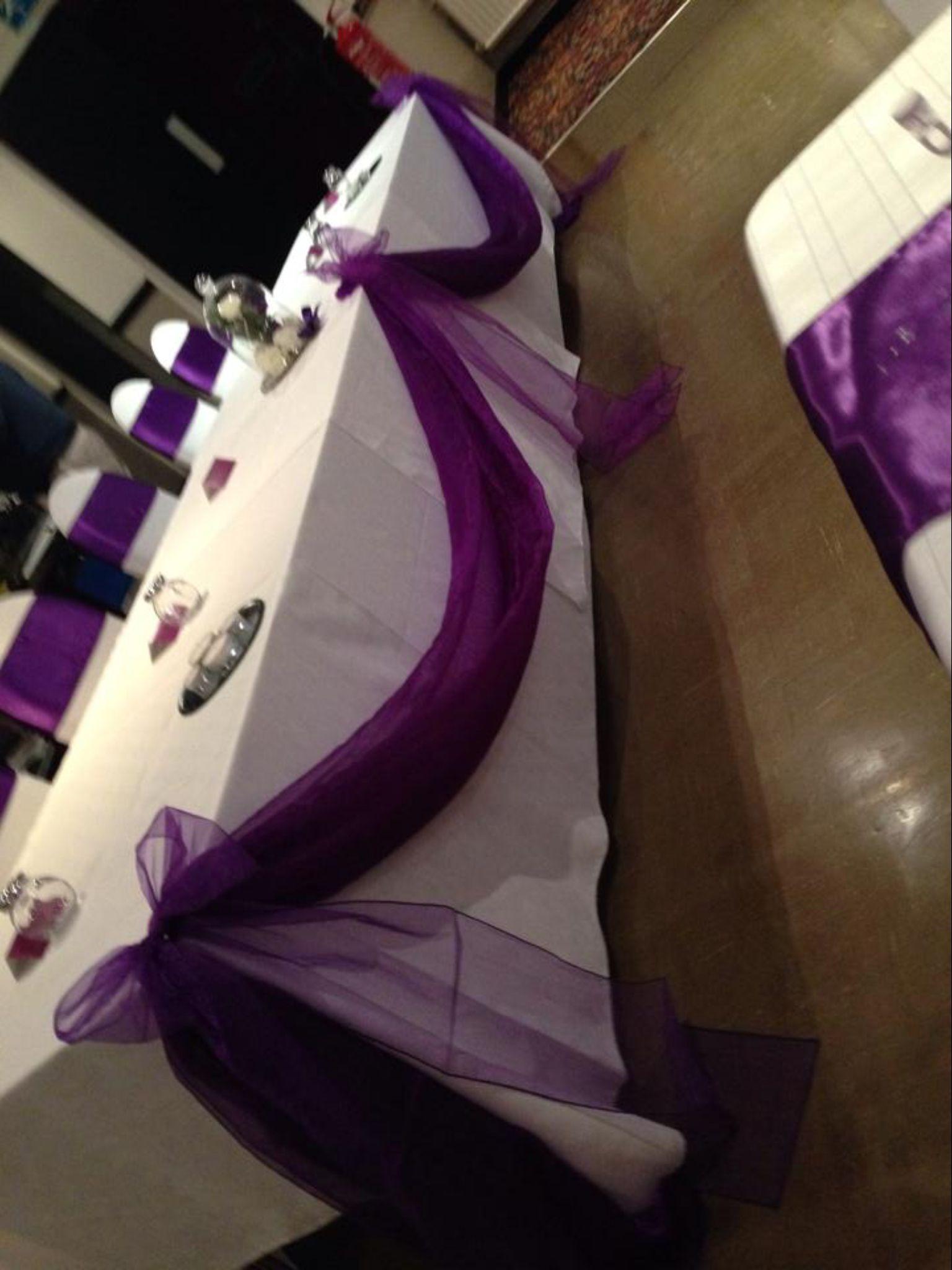 Cadbury Purple Satin Sashes With White Spandex Chaircovers