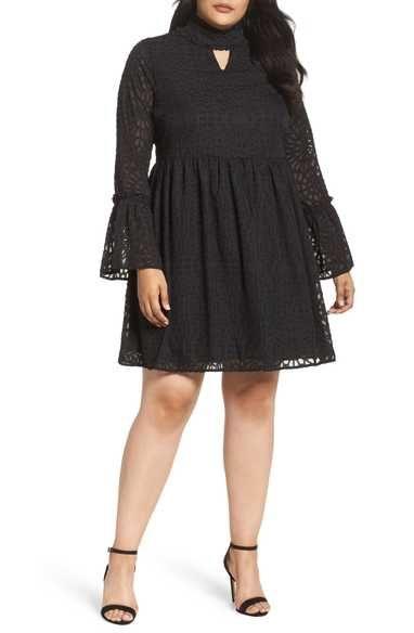 Lost Ink Geo Lace Fit Amp Flare Dress Plus Size Plus