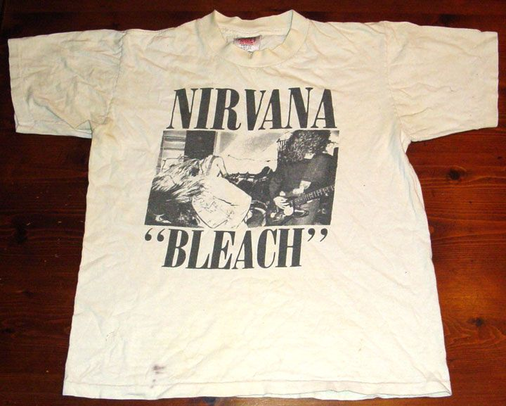Nirvana Bleach Tape Photo Kurt Cobain Rock Licensed Tee T-Shirt Men